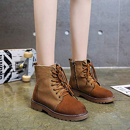 Brown Women's Shoes Canvas FALAIDUO Suede Casual Hiking Tourism Boots Battle Stitching Hiking Outdoor Color Boots Boots Solid awUUdnHq
