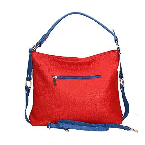 Chicca Mujer 26x16x6 cuero pequeño hombro el con in Italy patrón para rojo Cm de bolso correa Borse dólar Made embrague auténtico Azul grfcXqwUg5