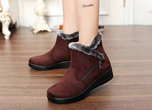 Heel Low Brown Boots Size Waterproof Comfy Non new Shoes Boots Gaatpot Snow Lining Flats Boots Short Slip Fur Ankle Warm Winter Womens TxwqaRZg