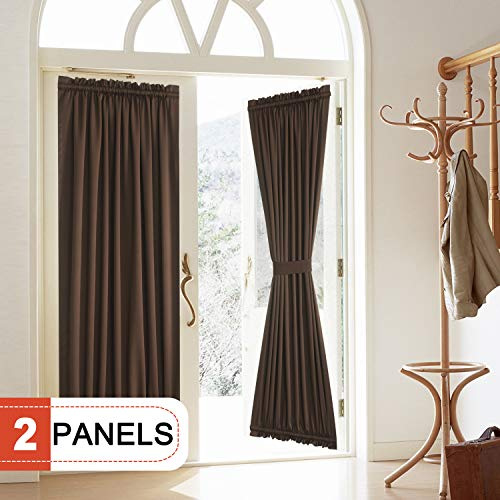 (Rose Home Fashion Blackout Door Curtain, Elegance French Door Curtains for Privacy, Thermal Insulated Door Curtain Panels, Room Darkening Door Window Curtain (50