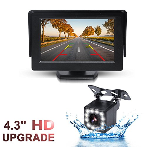 GSPSCN Monitor and Backup Camera Kit for Car,Waterproof 12 LEDs Light Night Vision Reverse Rear View Camera + TFT LCD 4.3 inch Rear View Monitor (Monitor with 12LED Cam)