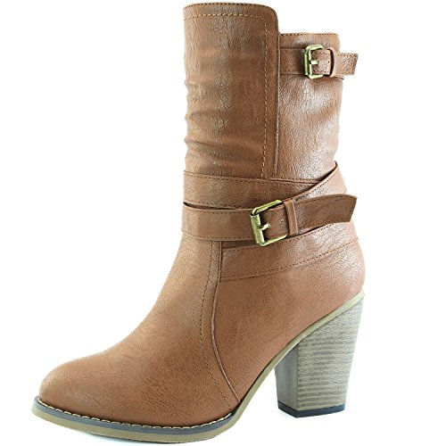 20182017 Boots DailyShoes Womens Western Cowboy Strappy Buckle Chunky Ankle High Heel Boot Outlet Online