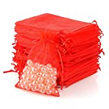 Wukong 100PCS 6x9 Inch(16x22cm) Drawstring Organza Jewelry Favor Pouches Wedding Party Festival Gift Bags Candy Bags-Red