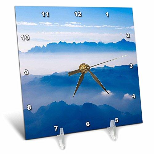3dRose dc_133176_1 Aerial View of Mountain Layers, Vietnam-As38 Ksu0011-Keren Su-Desk Clock, 6 by 6-Inch