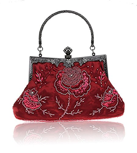 Bead Claret Party Wedding Clutch Sequined Elegant Handbag Handmade red Handheld Evening Prom Seed Bag H8xqw7Exd