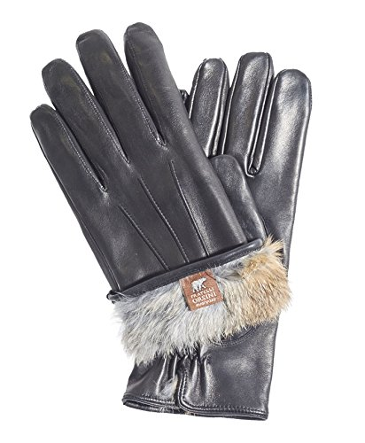 Fratelli Orsini Everyday Men's Our Bestselling Italian Rabbit Fur Gloves Size M Color Black/Natural Fur