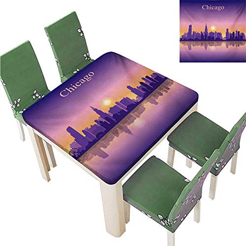 (Solid Tablecloth,Sunset in Illinois American Horizon Behind High City Silhouettes Banquet Wedding Party Restaurant Tablecloth,37.5W x 76.5L Inches(Elastic)