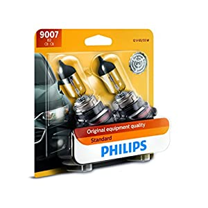Philips 9007 Standard Halogen Replacement Headlight Bulb, 2 Pack