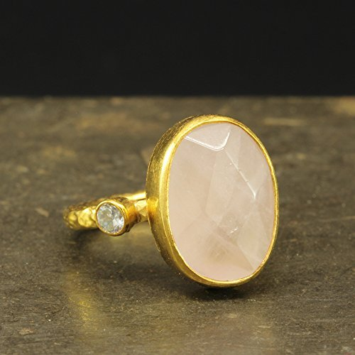 - Natural Rose Quartz Ring 925 Sterling Silver 24K Gold Vermeil Handcrafted Hammered Designer Pink Quartz Ring Artisan Gemstone Ring