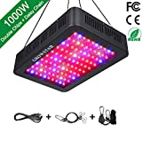 GROWSTAR 1000W LED Grow Light, 12-Band Double Chips LED Plant Light Full Spectrum with UV IR for Hydroponic Indoor Plants Veg and Flower Daisy Chain (100Pcs 10W LEDs)