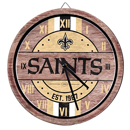 FOCO NFL New Orleans Saints Team Logo Wood Barrel Wall ClockTeam Logo Wood Barrel Wall Clock, Team Color, One ()