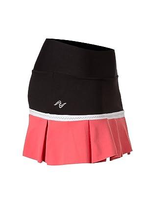 Naffta Tenis Padel - Falda-short para mujer, color negro/coral medio, talla XS: Amazon.es: Deportes y aire libre
