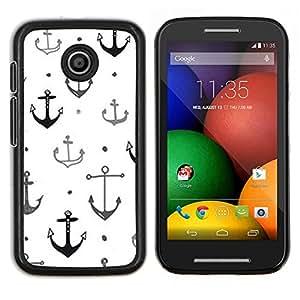 LECELL--Funda protectora / Cubierta / Piel For Motorola Moto E -- Barco Buque Capitán ancla blanco limpio --