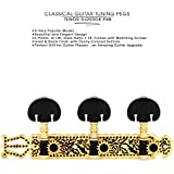 DJ203GK-P6B TENOR Classical Guitar Tuners, Tuning Key Pegs/Machine Heads for Classical or Flamenco Guitar in Black and Gold with Black Buttons.