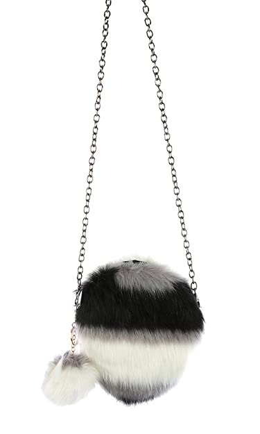 Image Unavailable. Image not available for. Color  Faux Fur Round Crossbody  Shoulder Handbag ... f55eadc059070