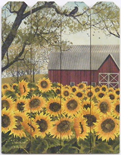 Sunshine by Billy Jacobs 9x12 Print on Wood Picket Fence Sunflowers Red Barn Flowers Farm Country Art Picture Wall Hanging Plaque