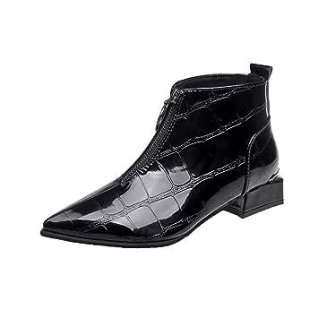 LuckyGirls Botas Cuero para Mujer Cuadros Botitas Botín Moda Zapatos Zapatillas con Cierre: Amazon.es: Deportes y aire libre