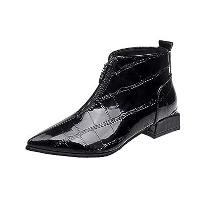 6d337d42d552c0 Sunnyuk Damen Chelsea Boots Leder Mittlerer Absatz Spitz Zehen  Reißverschluss einfarbig Ankle Stiefel Herbst und Winter