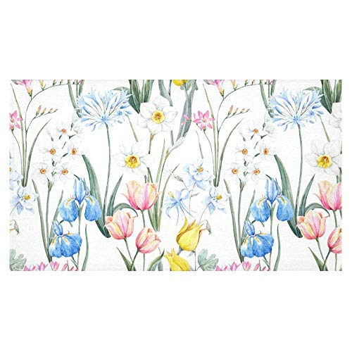 InterestPrint Watercolor Spring Tulip Flowers Pink Freesia and Blue Iris Tablecloth Decorative Rectangle Cotton Linen Washable Table Cover for Dinner Kitchen Home Decor, 60 x 104 Inch
