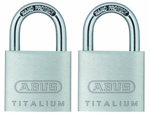 ABUS 64TI/30 Titalium Aluminum Alloy Keyed Alike Padlock - Nano Protect Steel Shackle - 2 Pack