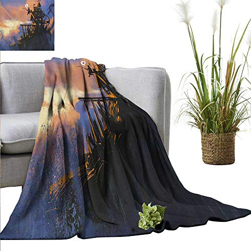 - AndyTours Camping Blanket Fantasy,Fisherman Sitting on The Castle Standing Over The Rocky Cliffs Haunted Paint Style,Multicolor Double-Sided Flannel Fleece Made with Plush Microfiber 35