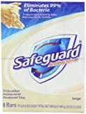 Safeguard Antibacterial Soap, Beige 8-Count: Bath Size Bars 4 Oz (Pack of 3)