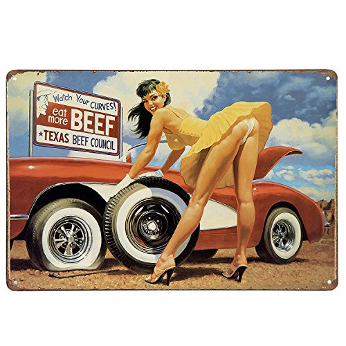 Watch Your Curves Eat More Beef Metal Tin Sign, Tin Poster,Retro Vintage Tin Sign 12 X 8 Inches (812, TPH-CAR-01)