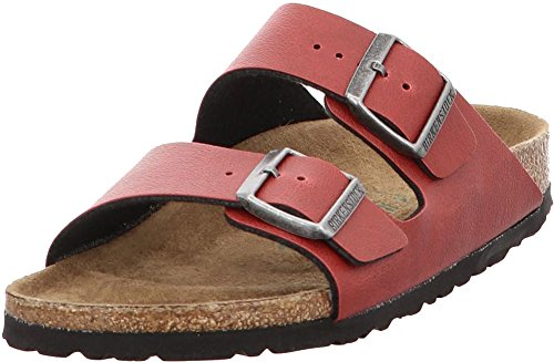 - Birkenstock Women's Arizona Vegan Sandal Bordeaux Pull Up Birko Flor Size 40 N EU