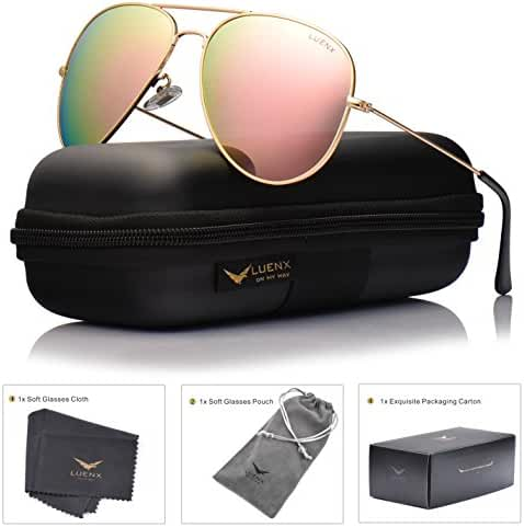 LUENX Sunglasses Aviator Polarized for Men & Women with Eyeglasses Case - UV 400
