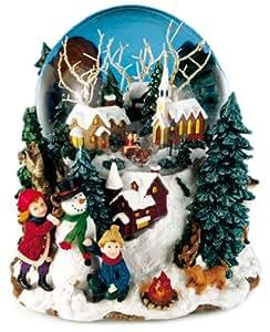 Music Box World 46076 - Bola de nieve musical, diseño de paisaje navideño