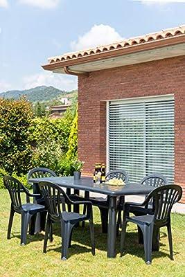 resol set de 4 sillones de jardín exterior Nuevo Pals - color verde oscuro: Amazon.es: Jardín