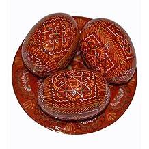 Set of 3 Hand Painted 2,5'' Red Wooden Polish Ukrainian Geometry ornament Easter Eggs (Pysanka) On Plate