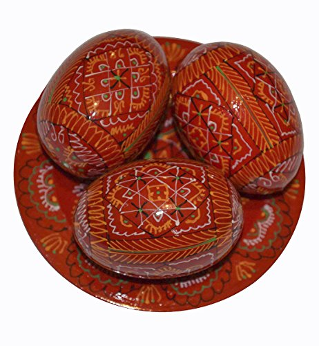 3 Hand Painted 2,5'' Red Wooden Polish Ukrainian Geometry ornament Easter Eggs (Pysanky) On Plate