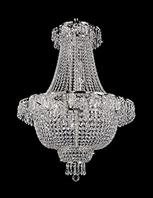 French Empire Crystal Chandelier Chandeliers Lighting , Silver , H30 X Wd24 , 9 Lights , Free Shipping