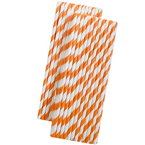 Striped Paper Straws - Orange and White - 7.75 Inches - 50 Pack - Outside the Box Papers Brand]()