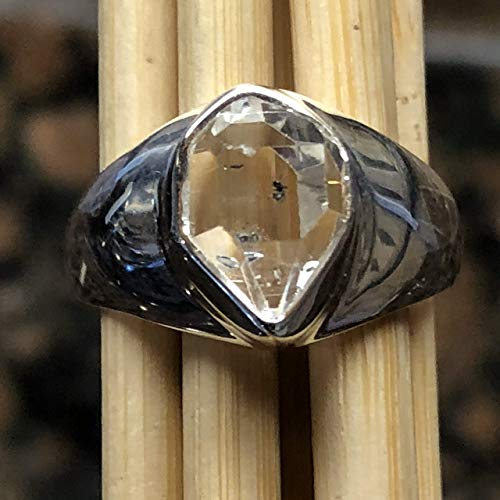 (Natural Herkimer Diamond 925 Solid Sterling Silver Cluster Healing Stone Unisex Ring sz 8)