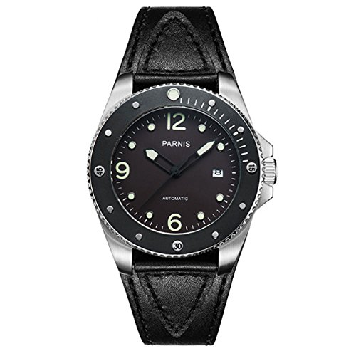 Parnis 43MM Ceramic Rotating Bezel Miyota Automatic Movement Men's Watch Black Dial Dive Watches ()