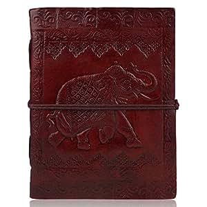 Zap Impex® Blank Journal Journal en cuir (6x 5') éléphant gestaltet Carnet de Voyage avec papier fait main unlined