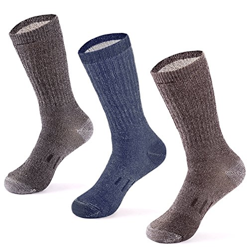 Design Wool Blend - MERIWOOL 3 Pairs Merino Wool Crew Socks - Large