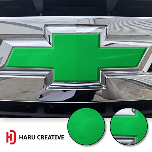 (Haru Creative - Front Hood Grille Bowtie Emblem Overlay Insert Inlay Vinyl Decal Sticker Compatible with and Fits Chevy Silverado 2019 - High Gloss Green )