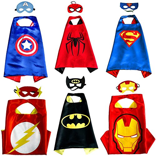 [Kiddo Care Superhero Capes Custome - 6 Masks Satins - 6 sets] (Sexy Halloween Dress Up)