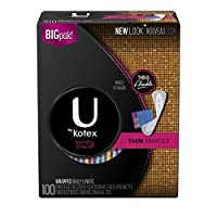 U by Kotex Barely There Liners, Light Absorbency, Unscented, 100 Count