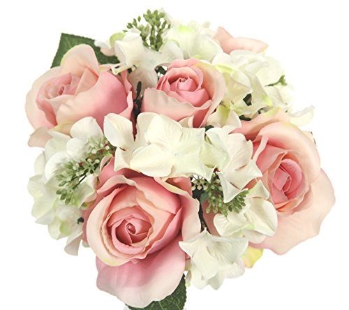 Admired By Nature 9 Stems Artificial Rose Hydrangea Mixed Bouquet, Blush