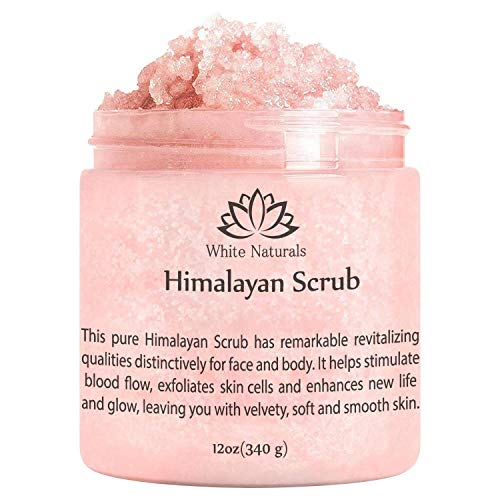 (Pure Himalayan Pink Salt Body Scrub 12 oz By White Naturals:All Natural Body Exfoliator Scrub With Nourishing Vitamins,Exfoliate For Soft &Healthy Skin,Massaging Scrub For Sore Muscles)