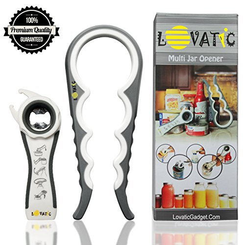 LOVATIC Can and Jar Opener - Ergonomic Bottle Opener for Seniors, Elders & Arthritis Sufferers - Simple to Use - Easily Apply for a Variety of Kitchen Cans, Bottles, Wine, Beer and Soda Pops