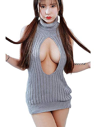 Sweater Strapless (SSJ Japan Sexy Halter Knit Sweater High Neck Sleeveless Strapless Lace (Gray4))