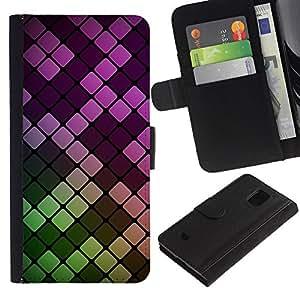 KingStore / Leather Etui en cuir / Samsung Galaxy S5 Mini, SM-G800 / Neón minimalista Azulejos