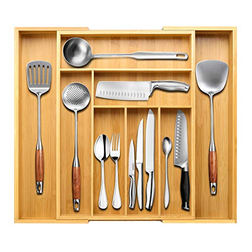 BAYKA Silverware Organizer Expandable Kitchen Drawer Organizer 100% Pure Bamboo Silverware Tray, Cutlery & Utensil & Flatware & Stationery Organizer with 8 Compartments (Best Kitchen Drawer Organizer)