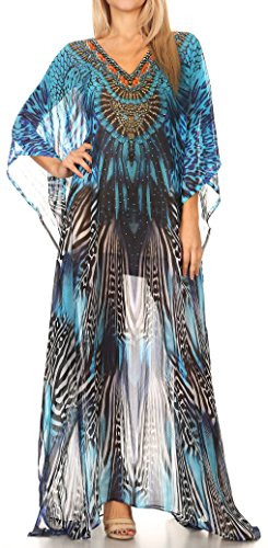 Georgette Caftan (Sakkas P4 - LongKaftan Wilder Printed Design Long Semi Sheer Caftan Dress/Cover up - 17142-BlackBlue - OS)