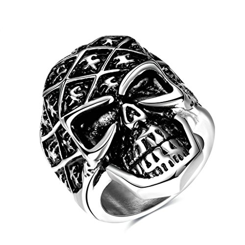 Angel And Devil Couple Costumes (Epinki Fashion Jewellry Stainless Steel Mens Ring Punk Devil Skull Retro Silver Size 7)